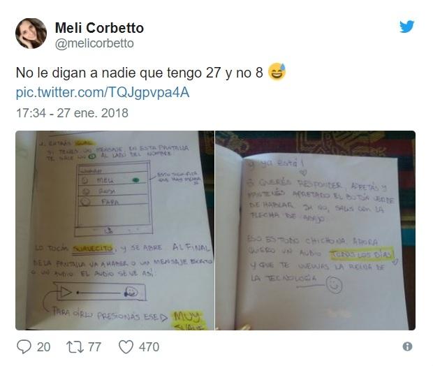 Con dibujos, le enseñó a su abuela a mandar audios — Viral