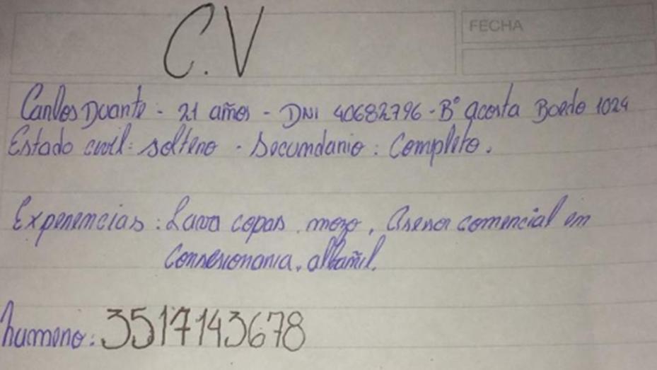 El chico que escribió su CV a mano consiguió trabajo