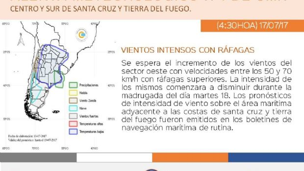 Anuncian alerta Meteorológico para centro y sur de Santa Cruz