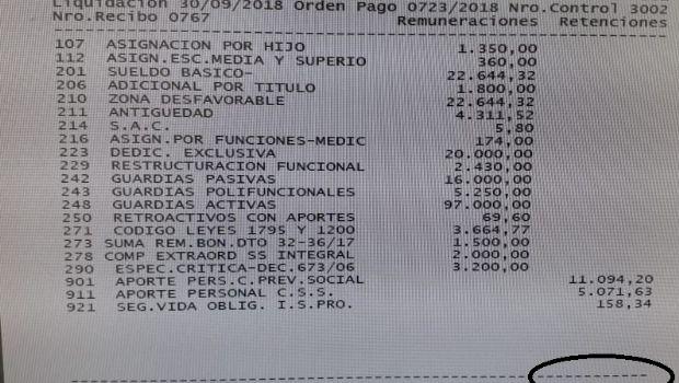 Viralizan el sueldo del Director del Hospital  regional que cobra más de 180 mil pesos