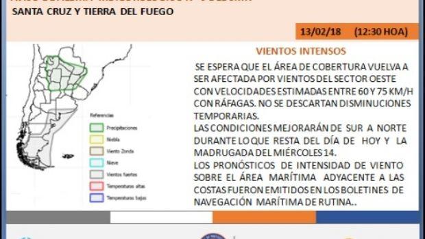 Protección Civil advierte por alerta meteorológico por viento en Santa Cruz y Tierra del Fuego