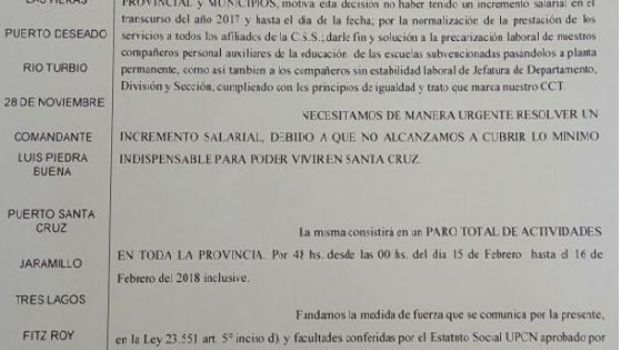 UPCN para por dos días y exige aumento de salario