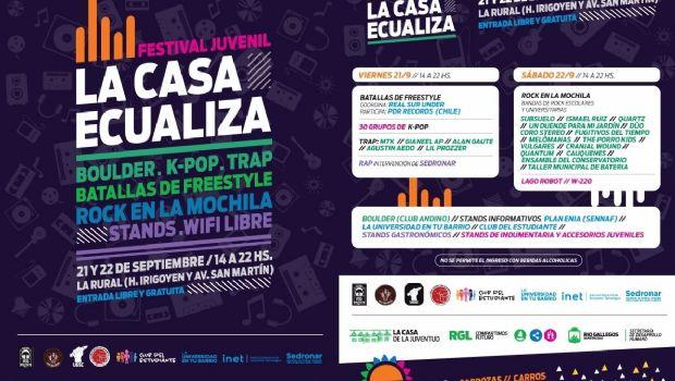 """Festival juvenil """"La Casa Ecualiza"""" en la Sociedad Rural"""