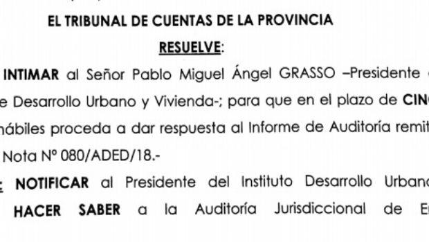 Intimaron a Grasso a que responda una auditoría por refacciones en el Tribunal de Cuentas